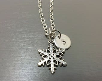 Snowflake Necklace, Custom Necklace, Initial Necklace, Hand Stamped Jewelry, Gifts for her, Gifts for Him, Snow, Personalized Necklace