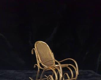 Dollhouse Miniature Brass Rocking Chair