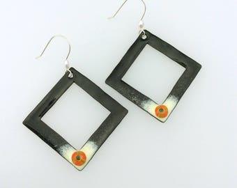 Geometric enamel copper earrings with Artisan sterling silver ear wires