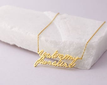LARGE handwriting necklace • Actual handwriting jewelry • Memorial jewelry for wedding • Keepsake jewelry • Gift for sister CHN12