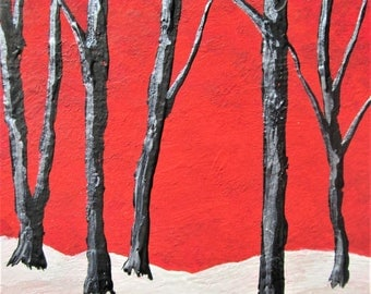 """ARTIST TRADING CARD Twilight Woods #273 by Mike Kraus 2.5 """" x 3.5"""" - home decor wall art forest trees forest nature reds aceo collection"""