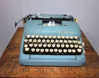 1957 Smith-Corona Blue Silent-Super Working Typewriter & Case
