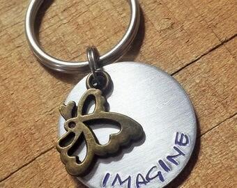 Imagine Keychain - Inspirational Gift - Gift for Dreamer - Butterfly Keychain - Butterfly Key Ring - Imagine Key Ring - Dreamer Key Ring