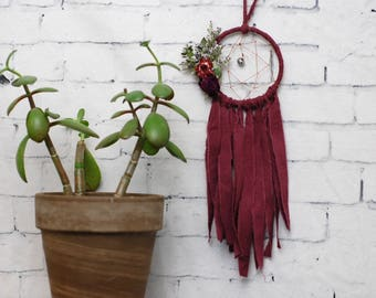 Maroon Mini Dream Catcher- Rearview Mirror Dream Catcher