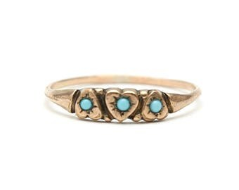 9k Victorian Turquoise Heart Band