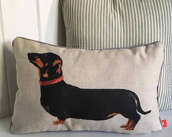 Dachshund cushion, Dachshund pillow, Dachshund lover gift, handmade in UK, sausage dog cushion, delivered FREE in UK!