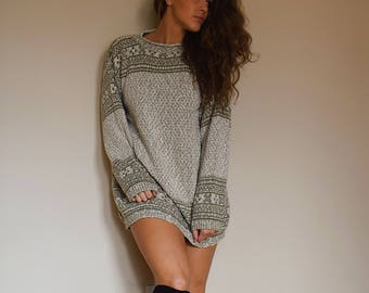 Beige Knit Oversized Sweater Big Comfy Scandinavian Swedish Top