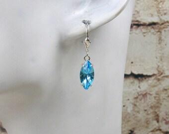 Earrings aquamarine Crystal, marquise earrings, wedding color, earrings, crystal earrings, aquamarine earrings, earrings silver