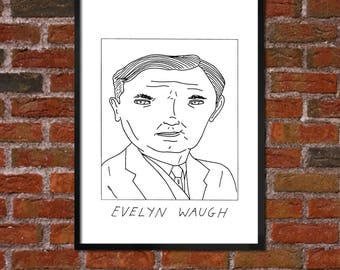 Badly Drawn Evelyn Waugh  - Literary Poster - *** BUY 4, GET A 5th FREE***
