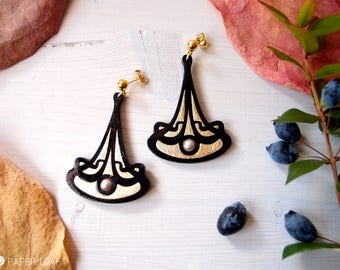 dangle stud art nouveau earrings RIBBON, hand carved paper earrings, pearl earrings, lightweight earrings, gothic earrings, posts earrings