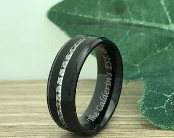 8mm Eternity Titanium Wedding Ring, Personalized Custom Engrave Eternity CZ Wedding Band Ring, Wedding Ring, Purity Ring, Promise Ring