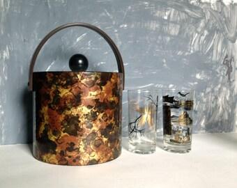 Mid Century Faux Tortoise Shell Ice Bucket, Vintage Ice Bucket