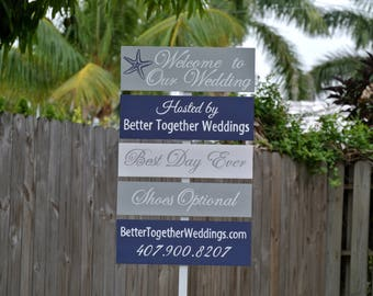 Welcome wedding sign, Silver Aqua Beach Wedding Decor, Best Day Ever, Shoes Optional Signpost, Personalized Wedding Gift Idea