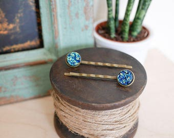 Druzy Hair Grips • Gift for her, blue, vintage, glitter, sparkle, hair, bobby pin, brass, rock, party, Valentines, girlfriend wife, cobalt