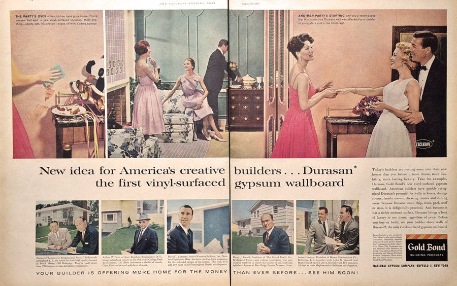 1960 Gold Bond Building Products Ad Durasan Gypsum Wallboard