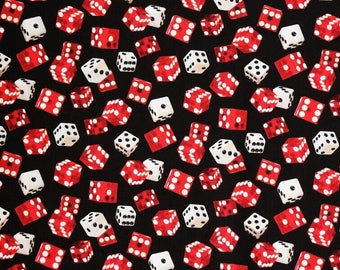 Dice Cotton Fabric Casino Pattern, Game of Chance by Elizabeth Studio, FQ 1/2 Metre. For Quilting, Sewing, Dressmaking, Crafts