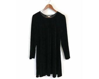 Vintage Black Velvet Mini Dress 90s 1990s crushed velvet burnout grunge goth long sleeved dress womens SMALL