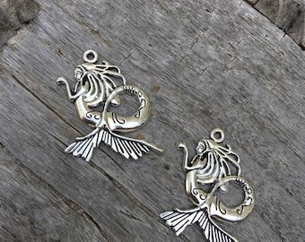 Mermaid Pendant Charm | Antique Silver Mermaid Tibetan Charm | Mermaid Pendant | Choose Your Quantity