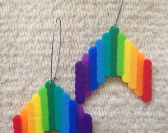 Large Rainbow Dangle Earrings
