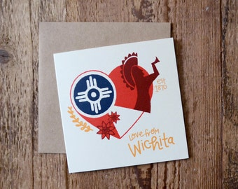 Wichita Flag - Blank Greeting Card - Keeper of the Plains - Sunflower - Square Card - ICT Flag