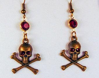 SKULL EARRINGS, brass earrings, brass chain, brass earwires, skull charm, crossbones charm, brass jewelry, Day of the Dead - 1960H