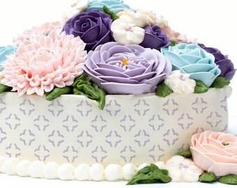 Cake Stencils- Simple Floral Shapes Stencil, Birthday Cake, Wedding Cake, Celebration Cake, Washable, Reusable, Dishwasher Safe, Food Safe