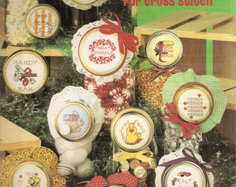 Vintage Counted CROSS STITCH Pattern Book - Jar Lids