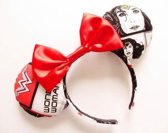 Wonder Woman Gal Gadot Print Mouse Ears Headband