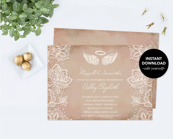 Angel wings invitation baptism invitation baby shower invitation il570xn solutioingenieria Images