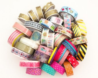 Mystery Grab Bag - Washi Tapes & Deco Tapes (10 pcs + 1 mystery gift) Korean Stationery Cute Kawaii Planner