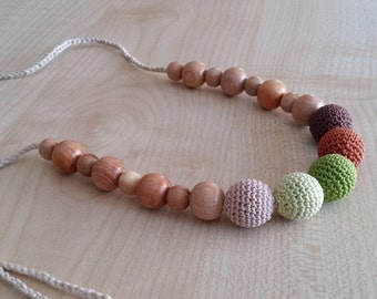 Nursing necklace Teething necklace Copper Necklace Breastfeeding necklace Crochet necklace Juniper Necklace for mom Green Organic cotton