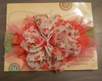 Floral lace & organza headband