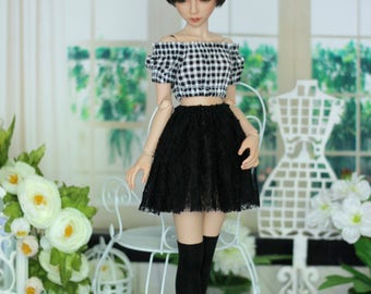 Lace skirt, Top and stockings for Narae, Unoa, Minifee, BJD, MSD doll 1/4 size