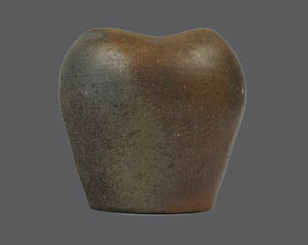 Brown Pottery Matte Ceramic Vase Vintage Irregular Shaped Brown Gray Grey Glaze MCM MOD Mid Century Modern Art