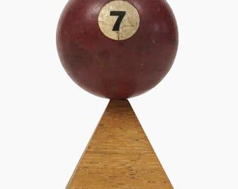 "No. 7 Pool Ball Miniature Clay Billiard Ball Size 1 5/8"" Burgundy Maroon Seven VII Solid Solids"