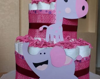 Diaper Cake - 2 Tier - Elephant and Giraffe - Baby Shower Cake - Centerpiece - Expecting Mother - Girl Pink Cake - Shower Decoration