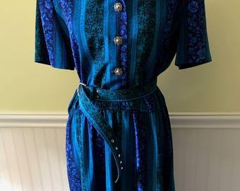 Vintage 80's Leslie Fay Dress Size 16