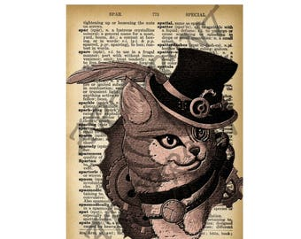 illustration - cats STEAMPUNK 7 - print - art print - English Dictionary - table - digital - wall decor page