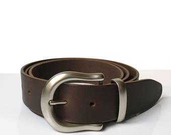 """Mens Brown Leather Belt - 1"""" 1/2 - Silver Buckle - Handmade In Uk - Men Gift - Husband - Brown Belt - Father Gift - Leather Belt - Mens Belt"""