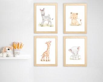 SET of four Watercolor Safari Nursery Art. Safari Animal Prints. Jungle Nursery Decor. Zoo Animal Nursery Decor. Zoo Animals Art.