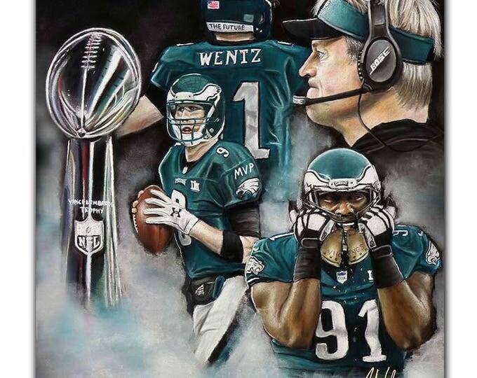Philadelphia Eagles - Super Bowl Champs - Super Bowl LII - Eagles - Nick Foles - Carson Wentz - Eagles - Man Cave - World Champions