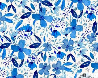 "Fabric, ""Indigo Watercolour Flowers"" design, 100% cotton"
