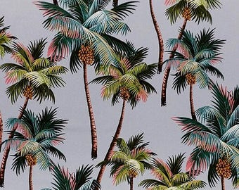 Pre Order - Arrival March - New Fabric Tropical Palm Trees on Grey,  Cotton Twill Barkcloth Outdoor Leaf Nature Upholstery Sewing Craft
