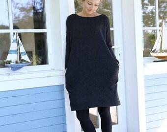 Oversized Dress | Merino Wool Dress | Loose dress | Warm Dress | Women Dress |  Black Dress | Comfy Dress | Autumn Dress | Casual Dress