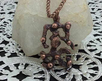 abstract necklace pendant  copper electro forming setting, handmade with copper nuggets