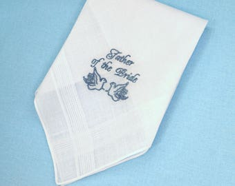 Father of the bride Gift for Father from the Groom Personalized wedding Custom Hanky for dad hankie Wedding Gift Wedding Handkerchief