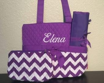 Chevron Print Monogrammed Diaper Bag Purple and White