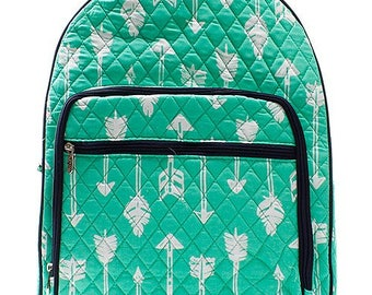 Arrow Print Large Quilted Backpack Great for Back to School or Diaper Bag Mint/Navy