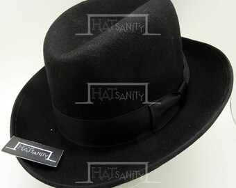 VINTAGE Wool Felt Formal Dura Homburg Top Hat - Black