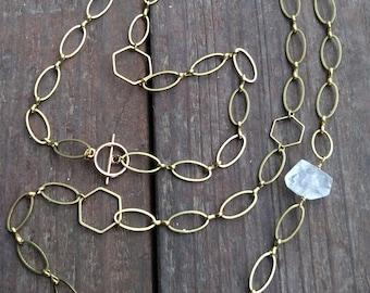 Quartz Crystal Convertible Station Necklace